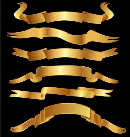 Set gold vintage banner ribbon Ilustracja