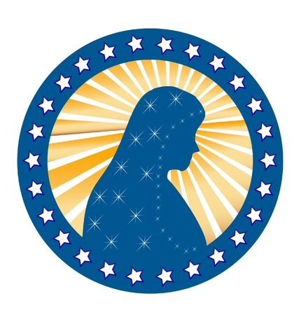 Our Lady of Fatima Virgen Mary seal Vector