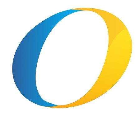 O letter blue and orange