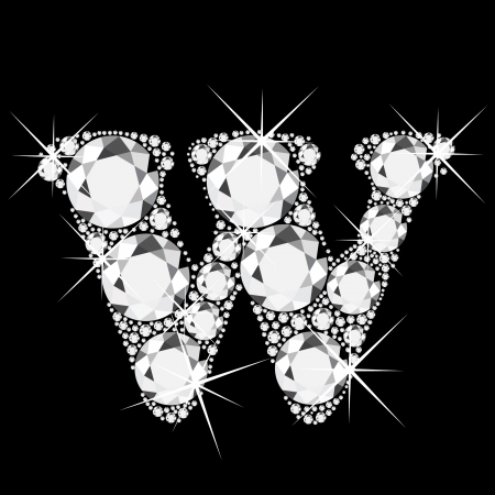 W letter with diamonds bling bling Vector