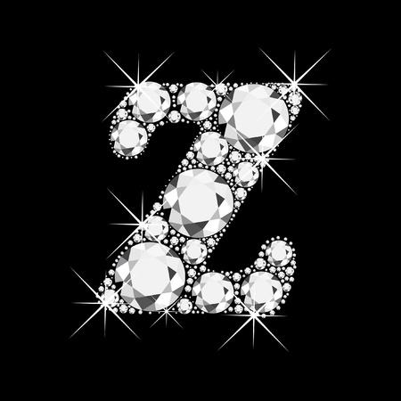 Z letter with diamonds bling bling Stock Vector - 13659329