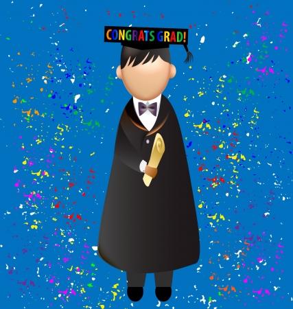 cap and gown: Graduation congrats grad  vector