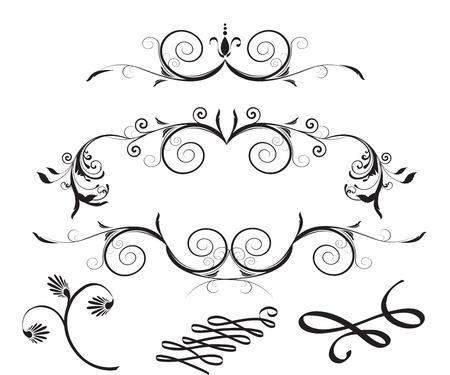 Elementos decorativos de diseño floral Ilustración de vector