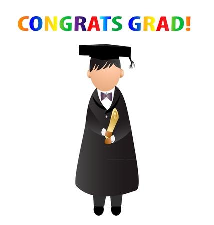 Congrats grad  card vector logo