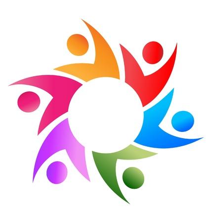 naciones unidas: Trabajo en equipo la gente de negocios en todo el círculo de vectores logotipo de
