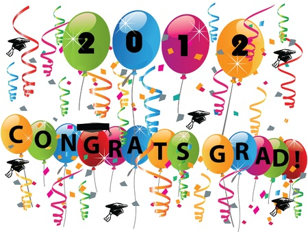 Celebrating graduation day with balloons confetti and congratulations  Vector