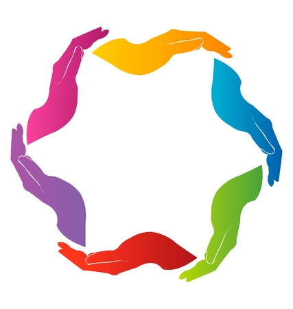 Mains union travail d'équipe logo