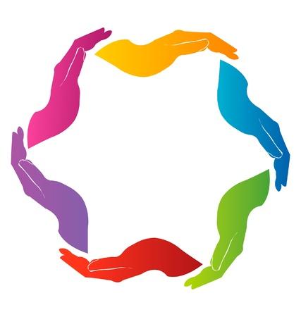 sinergia: Manos de la Unión el trabajo en equipo insignia Vectores