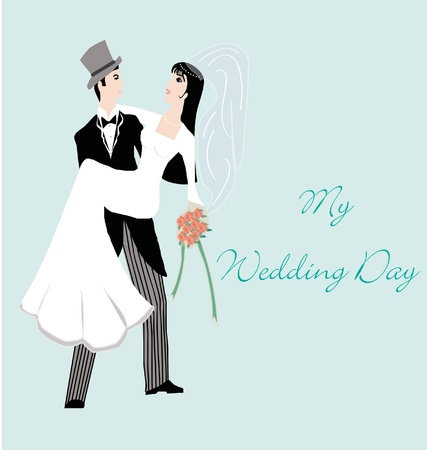 Just Married, groom carrying the bride invitation card Illustration