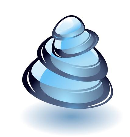 zen stone: Zen Stone blue pyramid vector