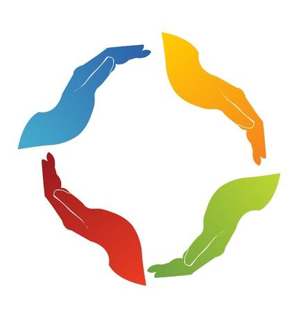 sinergia: Las manos las soluciones de trabajo en equipo insignia Vectores