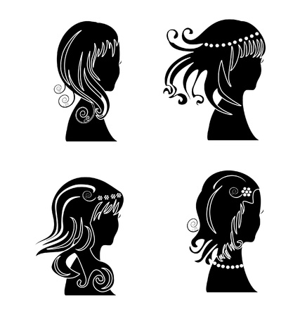 hair setting: Set of woman with beauty hair silhouette