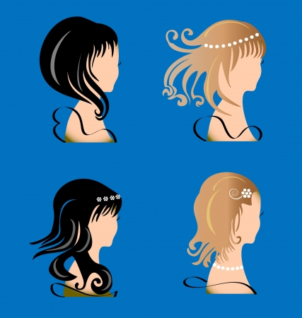 beauty queen: Set of woman with beauty hair silhouette