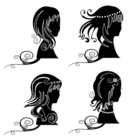 hair style set: Set of women with beauty hair silhouette