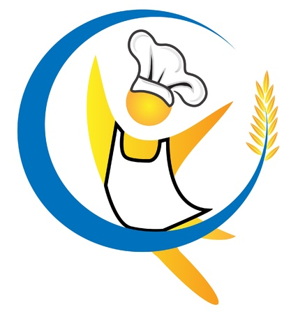 french bakery: Chef figure logo vector