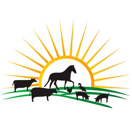farm animal silhouettes sun and field vector Vector