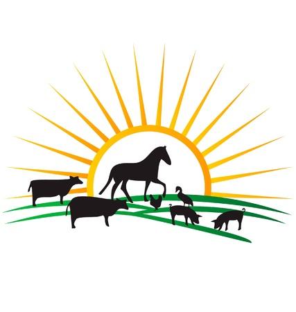 fattoria degli animali silhouette sole e campo vettoriale