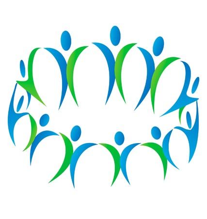 united nations: El trabajo en equipo personas de la comunidad vector logo Vectores
