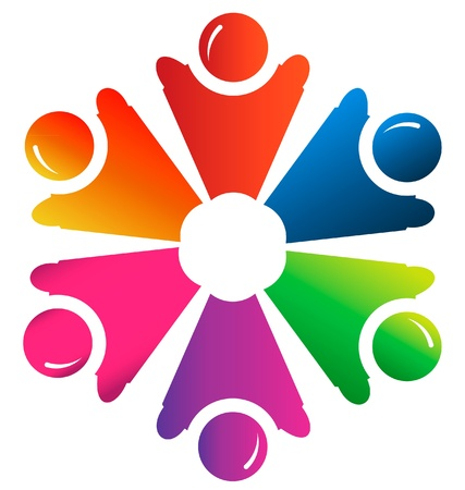 group picture: Teamwork people group logo vector Illustration
