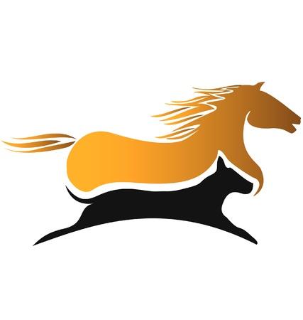 Caballo y el logotipo de las carreras de perros Foto de archivo - 13797913