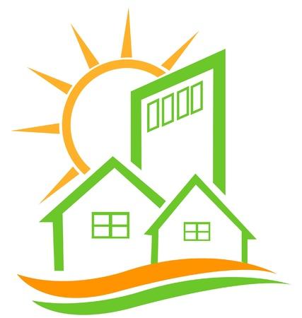 modern huis: Residentiële groene huis en in de zon logo Stock Illustratie