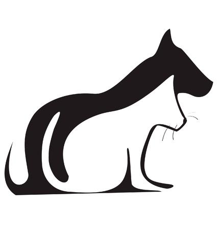 Kat en hond silhouetten logo vector Stock Illustratie