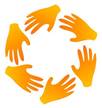 surrounded: Lavoro di squadra mani intorno vector logo