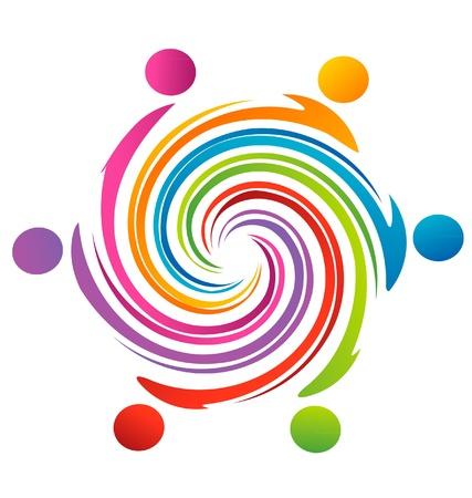 Teamwork swirl rainbow logo vector Illusztráció