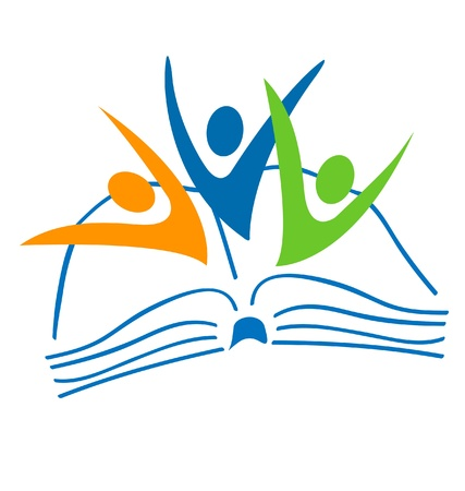 library book: Open book and students figures logo  Illustration