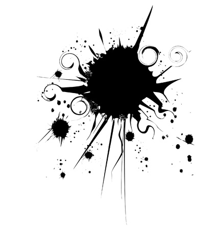 Ink grunge splat one spot vector Çizim