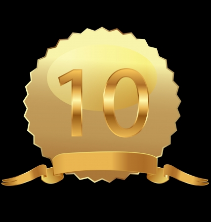 10th anniversary in gold seal vector Çizim