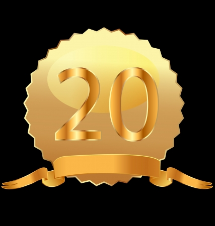18k: 20th anniversary in gold seal vector Illustration