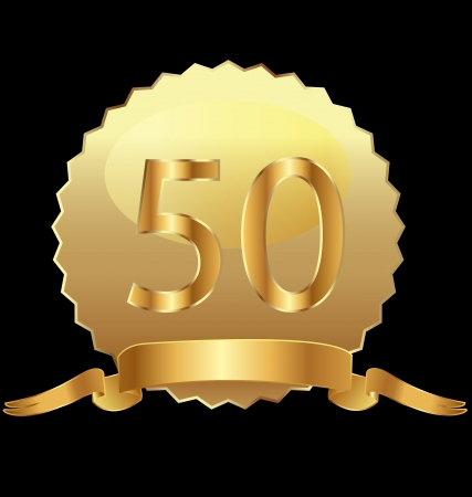 50th anniversary in gold seal Vector