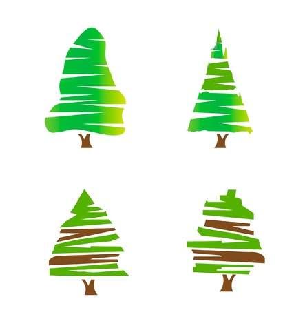Réglez de stock logo vert des arbres Banque d'images - 13855657