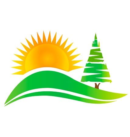녹색 나무 언덕과 태양 로고