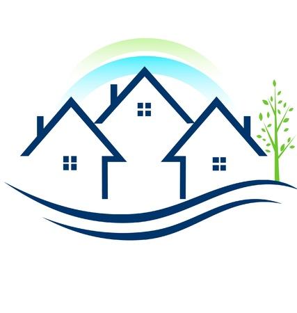 townhouses: Casas apartamentos con �rboles y el logo del arco iris Vectores