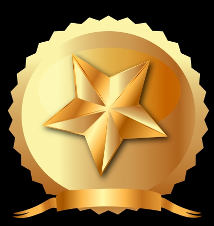 Star seal in gold with ribbon