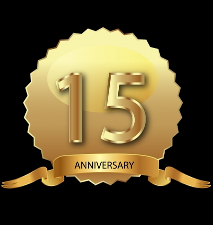 15th anniversary in gold seal Stock Vector - 13879966