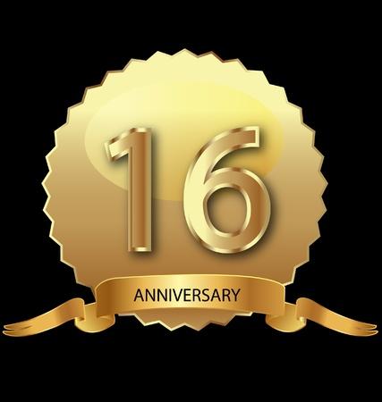 16e verjaardag in goud zegel
