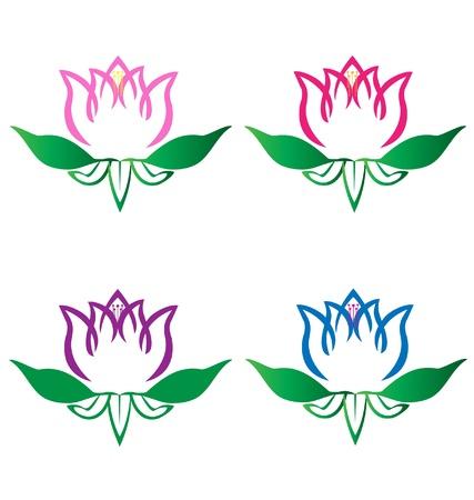 inhalacion: Juego de flor de loto logotipo de flores