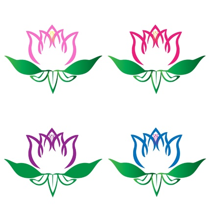 Set of lotus flowers logo