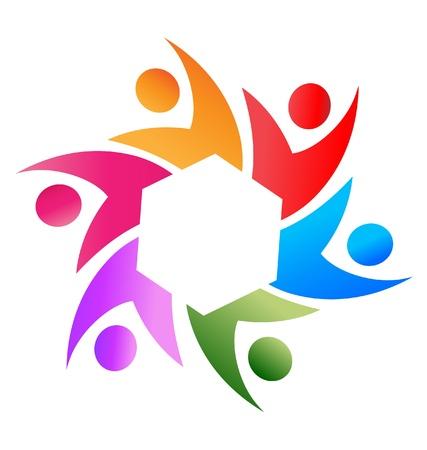 Teamwork mensen uit het bedrijfsleven rond zeshoek logo