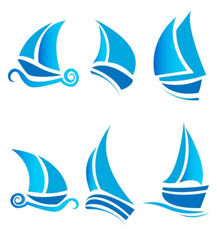 Set of boats ships or cruise with waves vector logo Vector