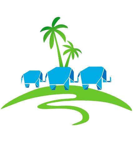 Three elephants with palms logo vector Vector