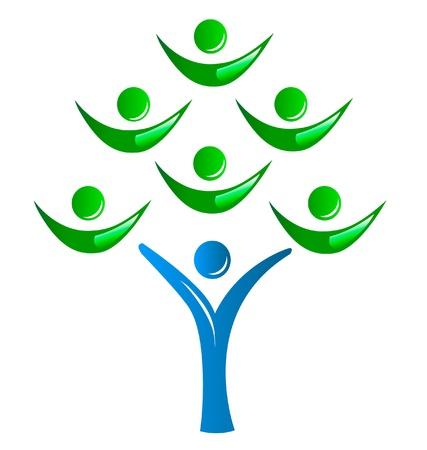 Logo - teamwork groep mensen als een boom Stock Illustratie