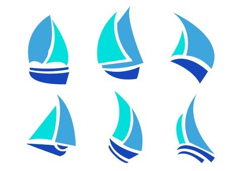 一連のボートのベクトルのロゴの図  イラスト・ベクター素材
