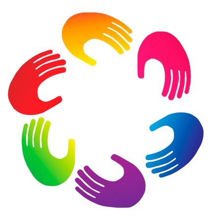 logo terre: Le travail d'�quipe vecteur logo mains Illustration
