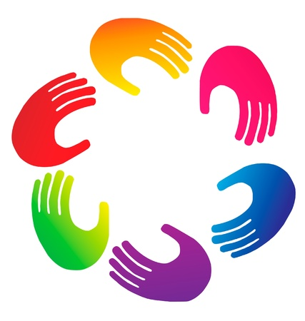 hands solution: Teamwork hands logo vector