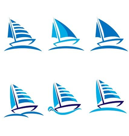 canotaje: Conjunto de dise�o de barcos vector logo