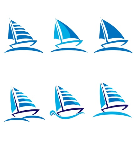 recreation yachts: Set of boats vector logo design